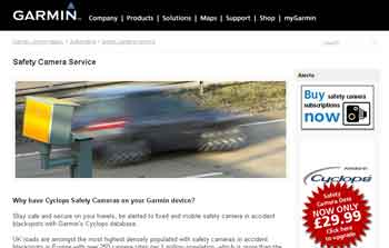 Garmin Speed Camera Page